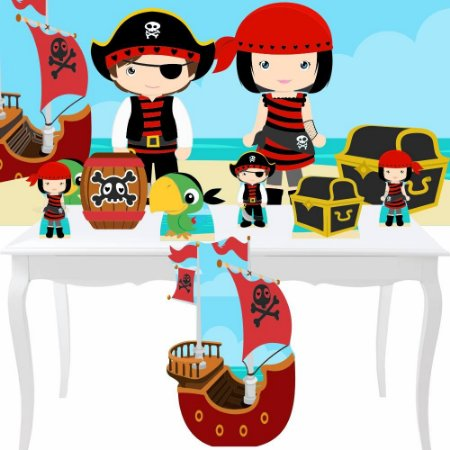 Combo Festa Bronze Painel Totem Piratas Cute Aniversário Mdf