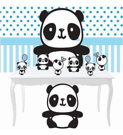 Combo Bronze Festa Panda Menino Azul Totem Painel