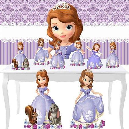 Combo Festa Diamante Painel 1x70 + 8 Totem Princesa Sofia