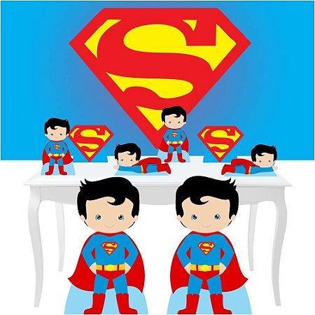 Combo Festa Diamante Super Man Cute Painel Totem Festa