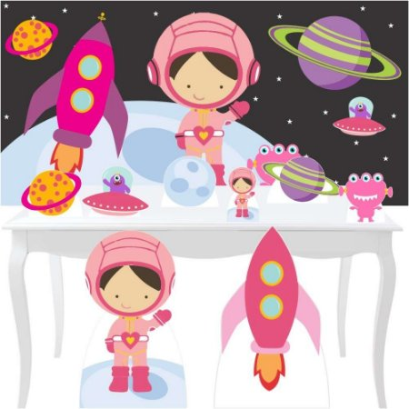 Combo Festa Diamante Astronauta Menina Painel Totem