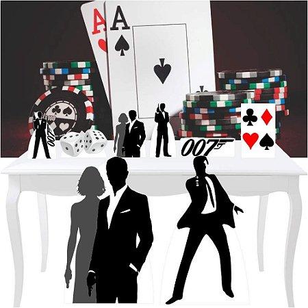 Combo Diamante Cassino 007 Totem Display Painel Festa
