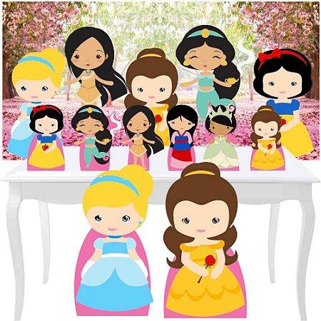 Combo Festa Diamante Princesas Cute Painel Totem Display