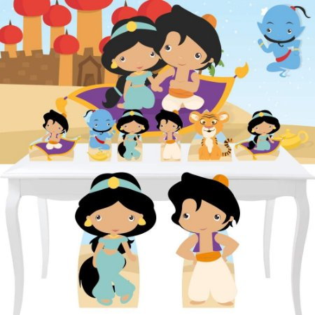 Combo Festa Diamante Aladdin E Jasmine Cute Painel Totem