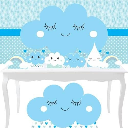 Combo Prata Chuva Amor Menino Benção Festa Azul Menino