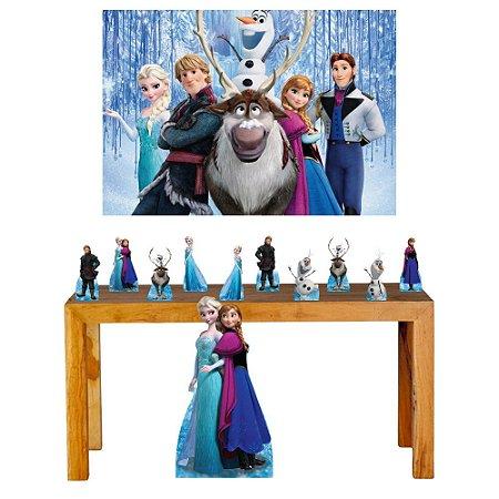 Combo Prata Festa Painel Totem Frozen Aniversário