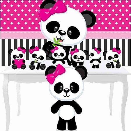 Combo Prata Festa Panda Menina Rosa Totem Painel