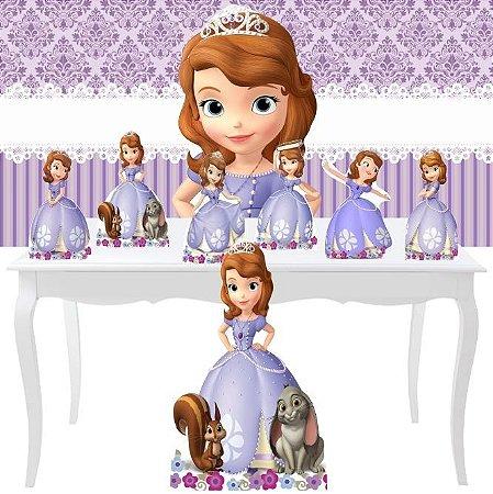 Combo Prata Totem Display Mdf Festa Princesa Sofia