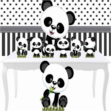 Combo Festa Prata Aniversário Panda Baby Totem Painel