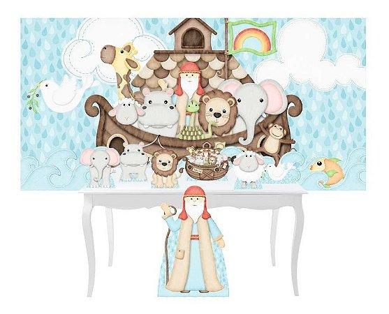 Combo Festa Prata Arca Noe Animais Totem Display