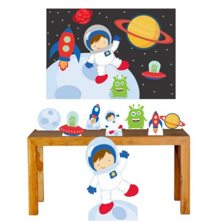 Combo Festa Prata Astronauta Lua Totem Mdf