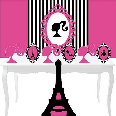 Combo Festa Prata Barbie Paris Mdf Totem Painel