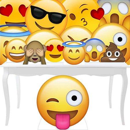 Combo Festa Prata Totem Display Painel Emoji Decoração