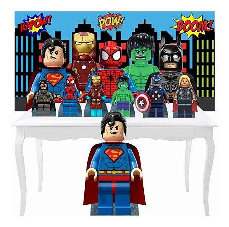 Combo Prata Festa Lego Heróis Painel Totem Display