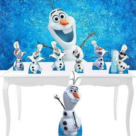 Combo Festa Prata Olaf Frozen Neve Aniversário Display
