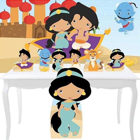 Combo Festa Prata Aladdin Jasmine Cute Painel Totem