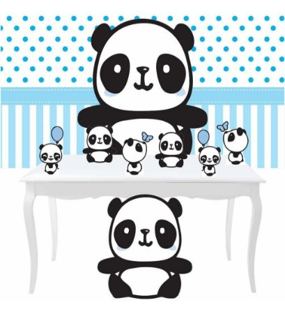 Combo Prata Festa Panda Menino Azul Totem Painel