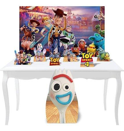 Combo Festa Prata Painel Totem Display Toy Story 4 Mdf