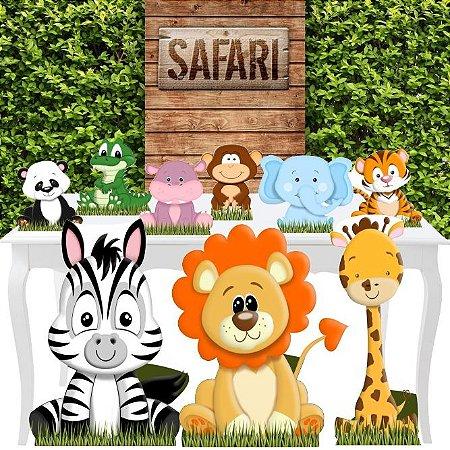 Combo Festa Ouro Safari Animais Selva Leao Totem Painel