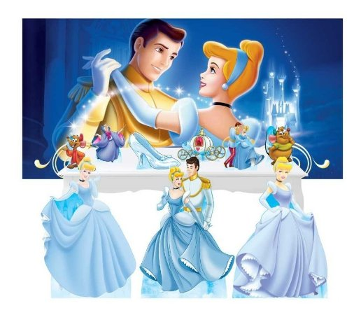 Combo Festa Ouro Cinderela Princesa Painel Totem Mdf