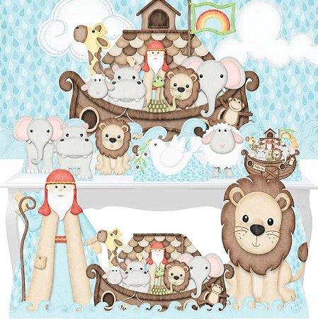 Combo Festa Ouro Arca De Noé Animais Painel Totem Mdf
