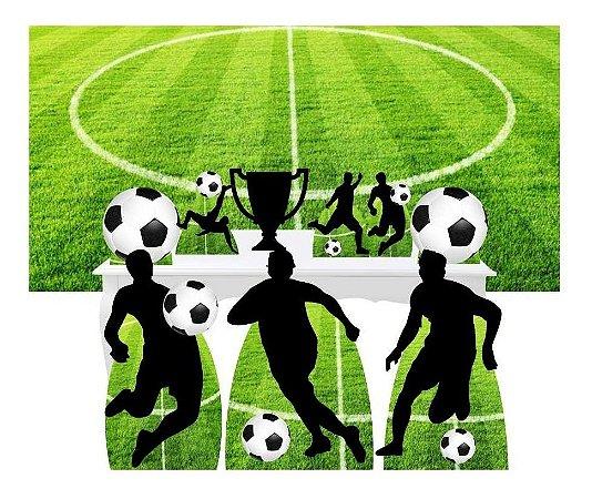 Combo Festa Ouro Futebol Esporte Painel Totem Bola Mdf