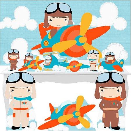 Combo Ouro Aviador Avião Piloto Painel Display Totem Festa