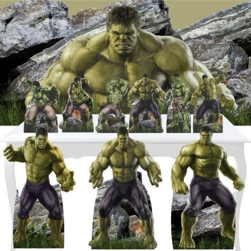 Combo Ouro Hulk Painel Display Totem Festa