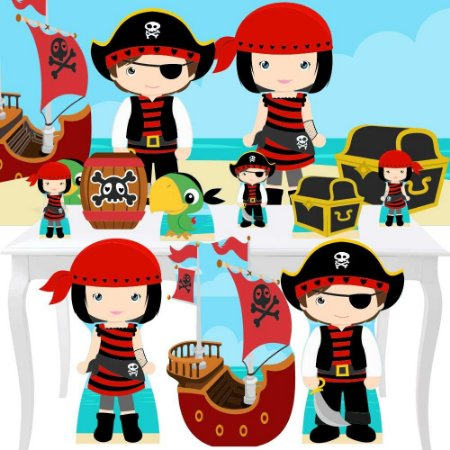 Combo Festa Ouro Painel Totem Piratas Cute