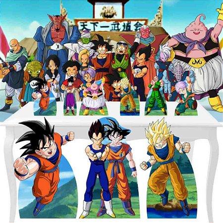 Combo Festa Ouro Painel Totem Dragon Ball Z Decoração
