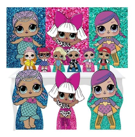 Combo Festa Ouro Lol Surprise Glitter Painel Totem Display