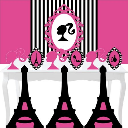 Combo Festa Ouro Barbie Paris Painel Totem Mdf