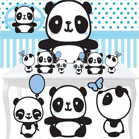 Kit Festa Combo Premium Panda Menino Totem Display Painel