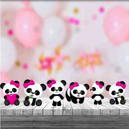 Kit 6 Display Totens De Mesa Panda Menina Festa Aniversário