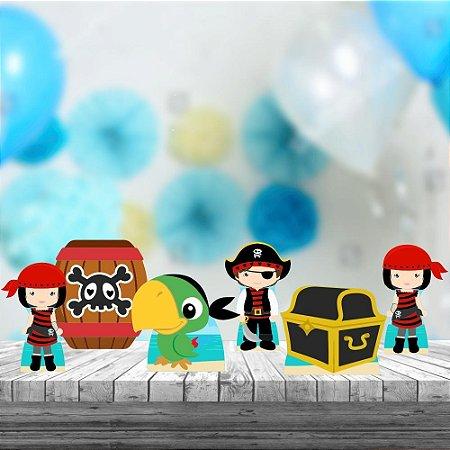 Kit 6 Displays Totens De Mesa Piratas Cute Aniversário