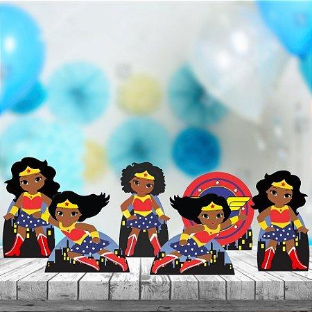 Kit 6 Displays Totens De Mesa Mulher Maravilha Cute Negra