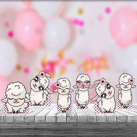 Kit 6 Displays Mesa Lhama Cute Festa Aniversário