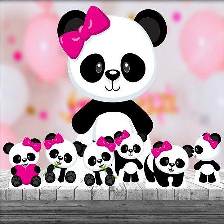 Kit 7 Totem Festa Display Panda Menina Rosa Urso Mdf