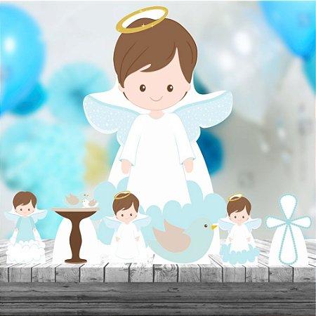 Kit 7 Totem Display Mdf Festa Batizado Menino Anjo