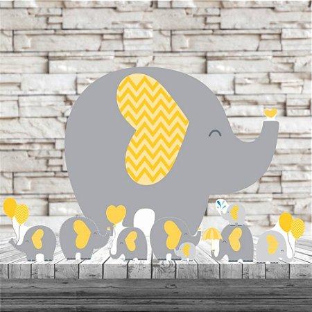 Kit 7 Elefantinho Amarelo Elefante Totem Display Mdf