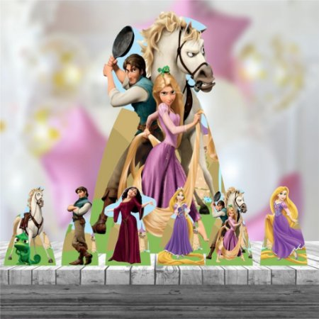 Kit 7 Totem Display Enrolados Rapunzel Princesa