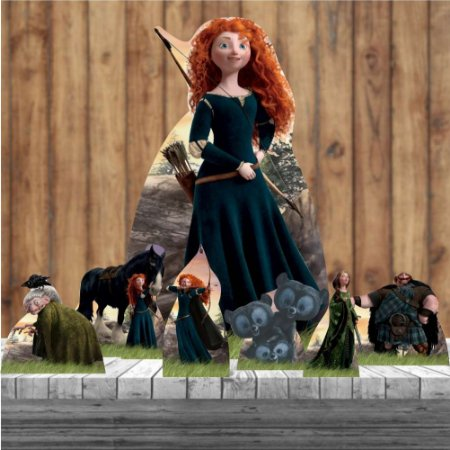 Kit 7 Valente Merida Totem Display Mdf Princesa Festa