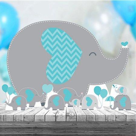 Kit 7 Elefantinho Azul Totem Display Festa Aniversario