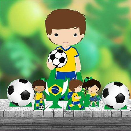 Kit 7 Futebol Brasil Totem Display Centro Mesa Chão