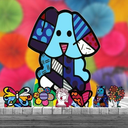 Kit 7 Romero Britto Arte Totem Display Centro Chão