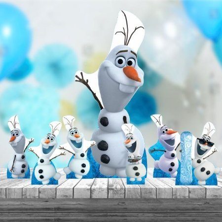 Kit 7 Festa Totem Display Aniversario Olaf Mdf Frozen
