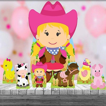 Totem Festa Kit 7 Fazendinha Rosa Aniversário