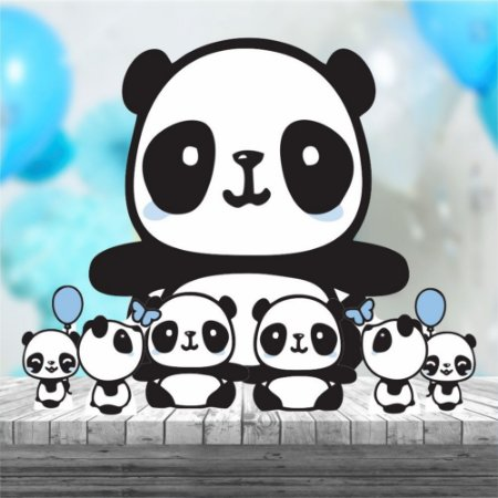 Kit 7 Panda Menino Cute Totem Display Mdf