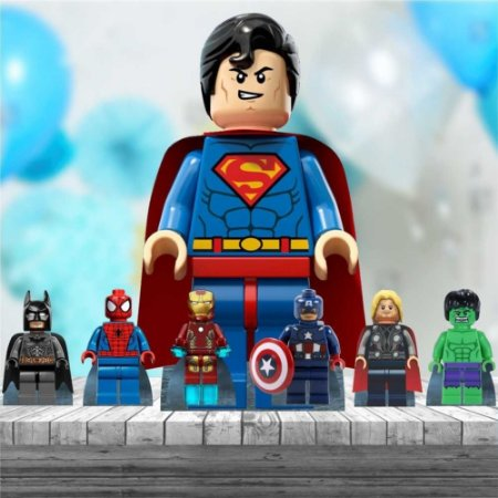 Kit 7 Totem Display Festa Lego Heróis Decoração Mdf