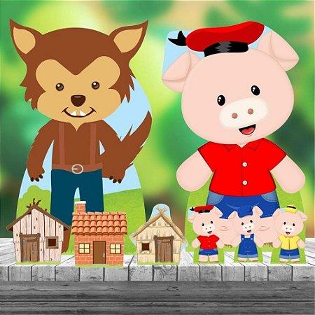 Kit 8 Totem Display Tres Porquinhos Festa Aniversário
